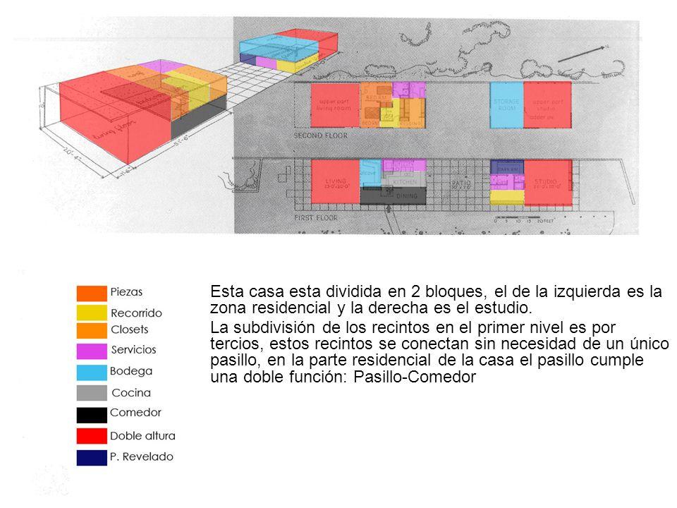 Esta casa esta dividida en 2 bloques, el de la izquierda es la zona residencial y la derecha es el estudio.