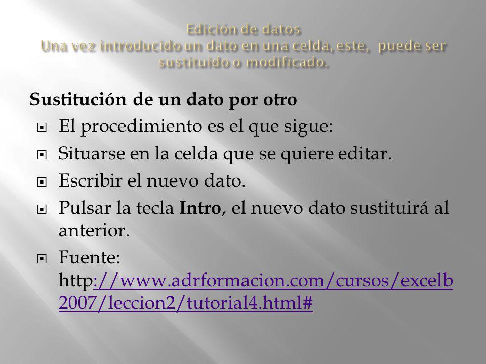 Sustitución de un dato por otro El procedimiento es el que sigue: