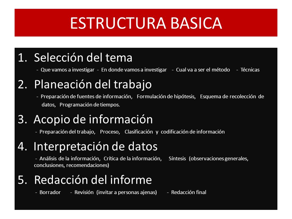 ESTRUCTURA BASICA Selección del tema Planeación del trabajo