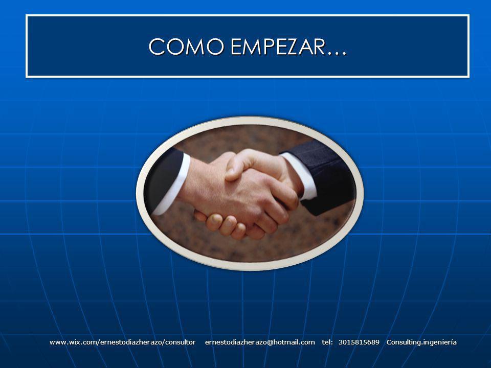 COMO EMPEZAR… www.wix.com/ernestodiazherazo/consultor ernestodiazherazo@hotmail.com tel: 3015815689 Consulting.ingeniería.