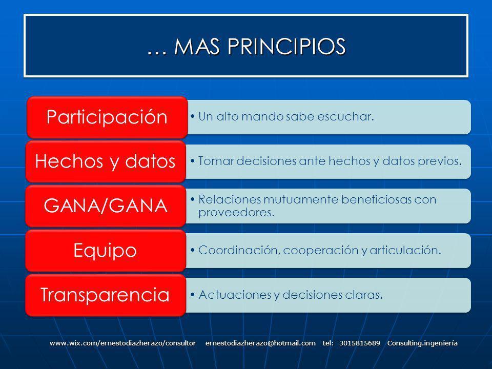 … MAS PRINCIPIOS Participación Hechos y datos GANA/GANA Equipo