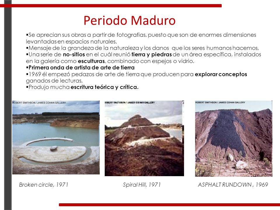 Periodo Maduro Se aprecian sus obras a partir de fotografias, puesto que son de enormes dimensiones levantadas en espacios naturales.