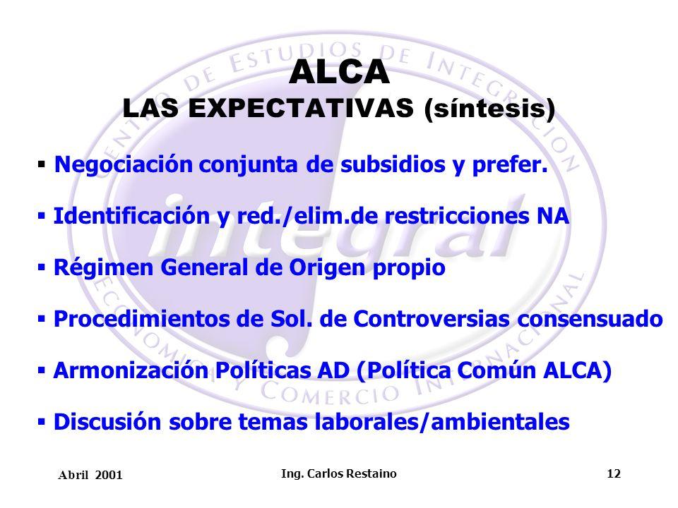 ALCA LAS EXPECTATIVAS (síntesis)