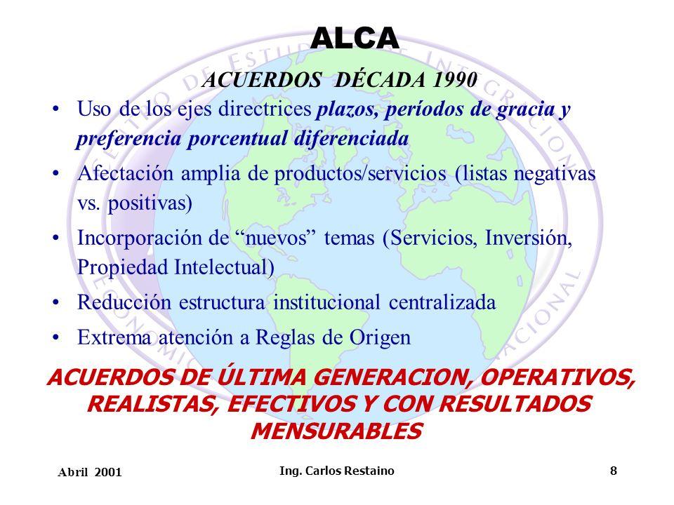 ALCA ACUERDOS DÉCADA 1990. Uso de los ejes directrices plazos, períodos de gracia y preferencia porcentual diferenciada.