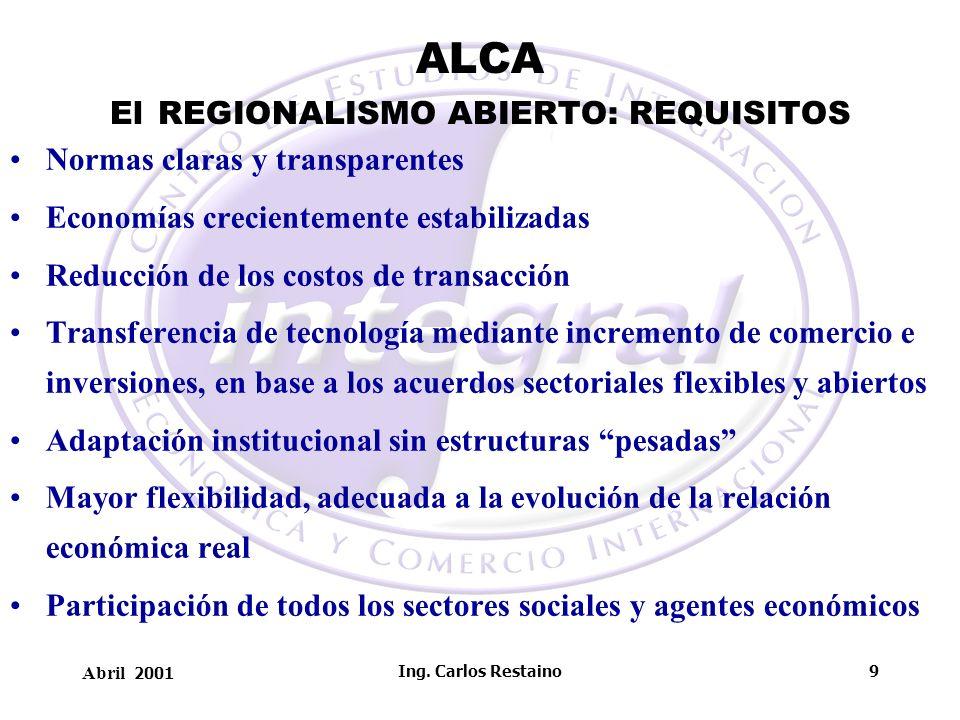 ALCA El REGIONALISMO ABIERTO: REQUISITOS