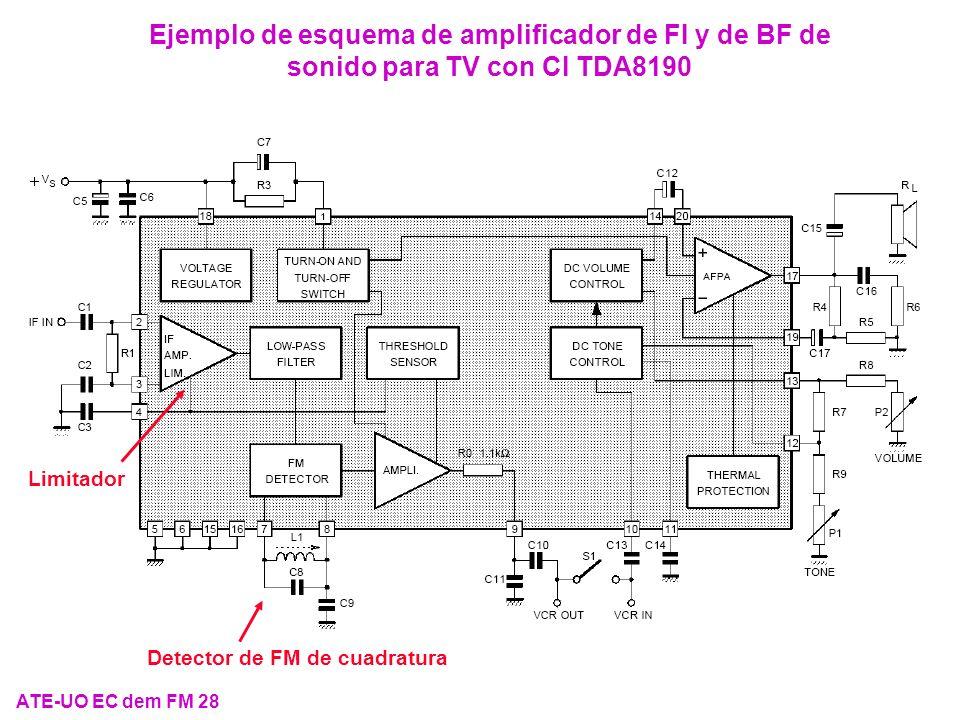 Ejemplo de esquema de amplificador de FI y de BF de sonido para TV con CI TDA8190