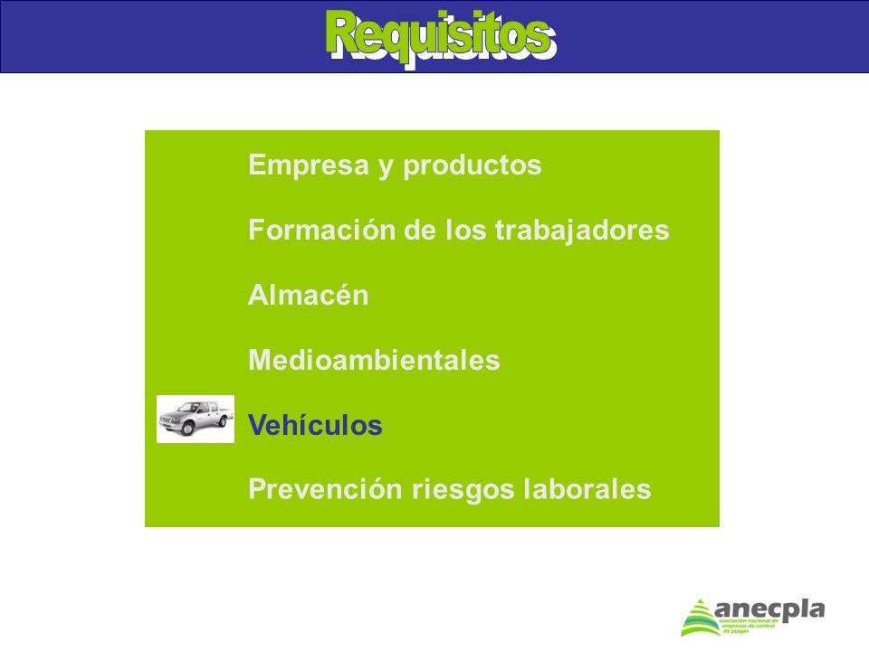 Requisitos Empresa y productos Formación de los trabajadores Almacén