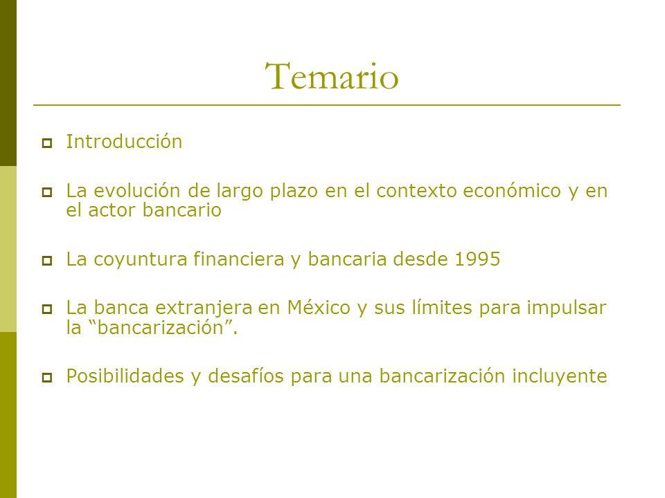 TemarioIntroducción. La evolución de largo plazo en el contexto económico y en el actor bancario. La coyuntura financiera y bancaria desde 1995.
