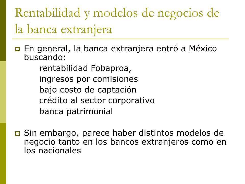 Rentabilidad y modelos de negocios de la banca extranjera