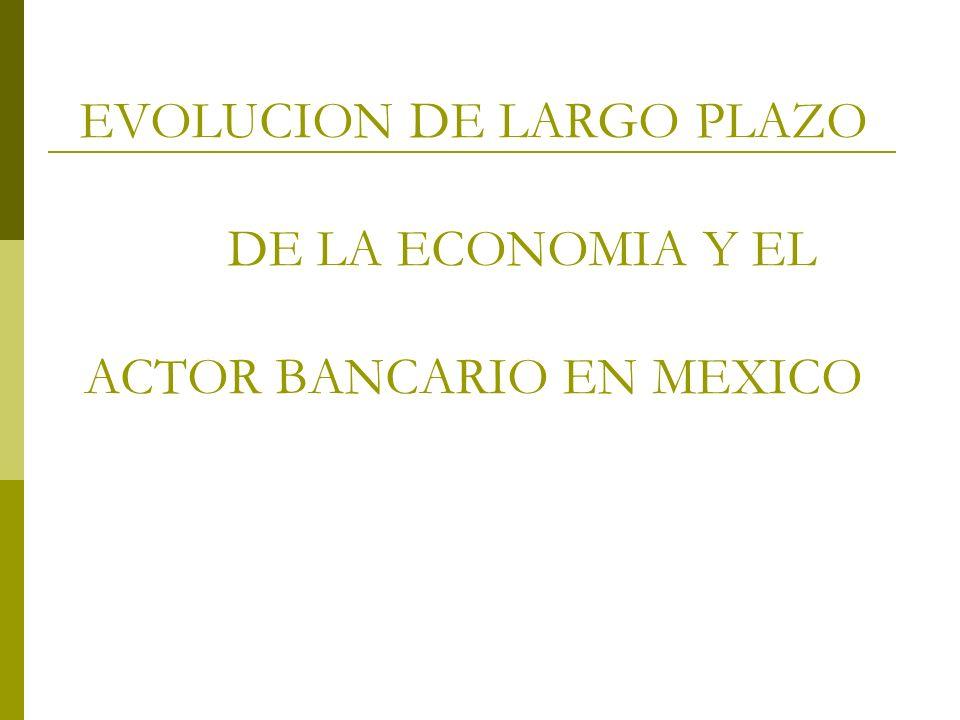 EVOLUCION DE LARGO PLAZO DE LA ECONOMIA Y EL ACTOR BANCARIO EN MEXICO
