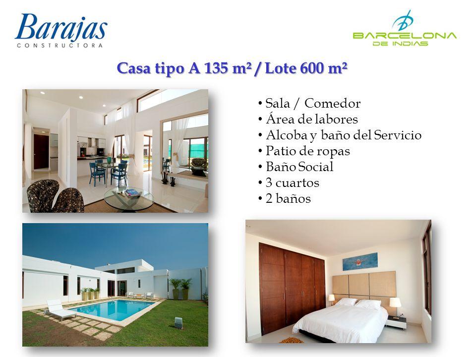 Casa tipo A 135 m² / Lote 600 m² Sala / Comedor Área de labores