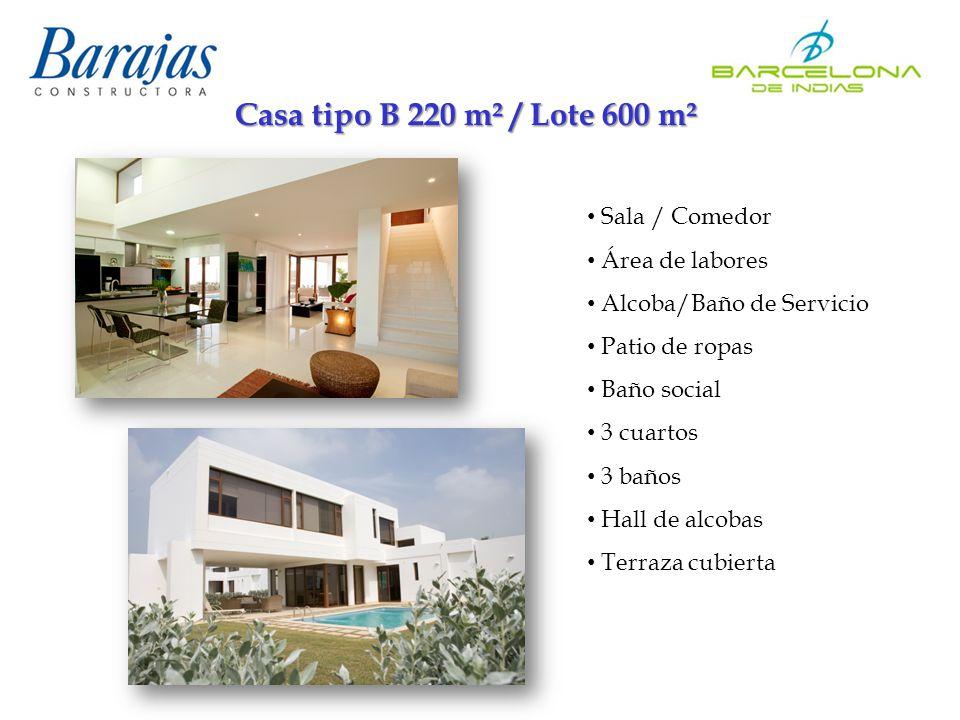 Casa tipo B 220 m² / Lote 600 m² Sala / Comedor Área de labores