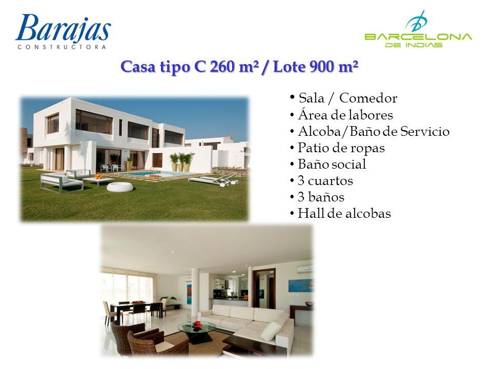Casa tipo C 260 m² / Lote 900 m² Sala / Comedor Área de labores