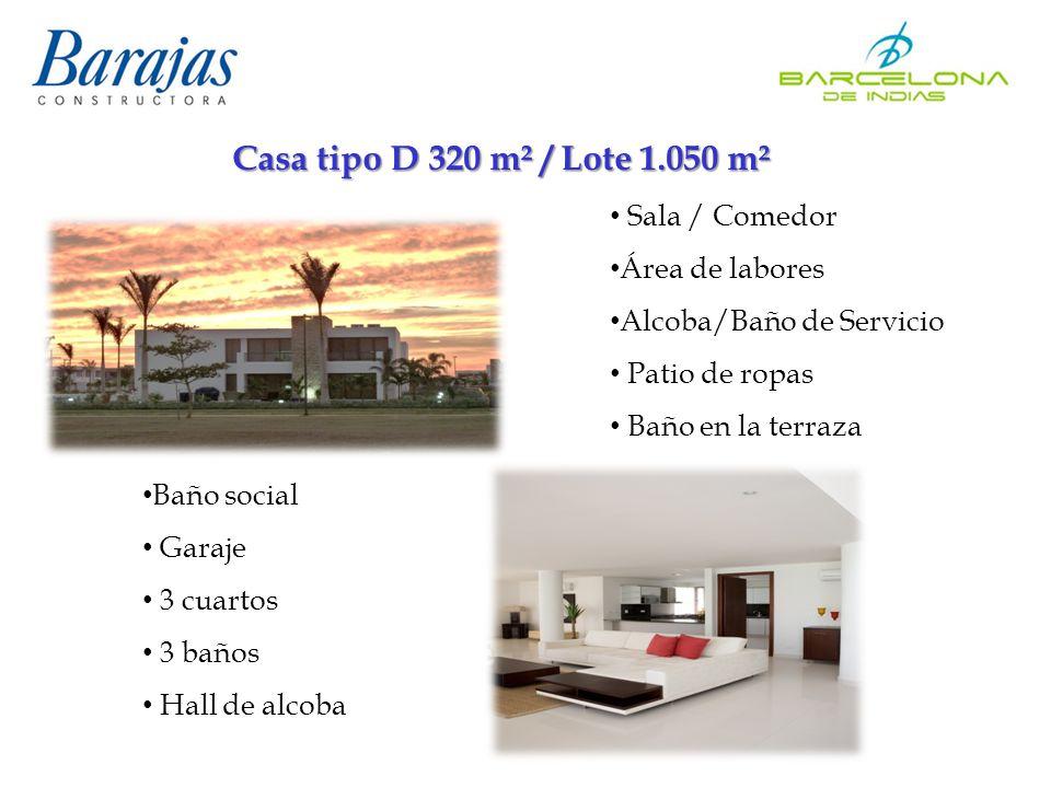 Casa tipo D 320 m² / Lote 1.050 m² Sala / Comedor Área de labores