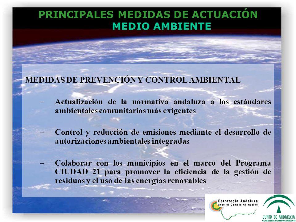 PRINCIPALES MEDIDAS DE ACTUACIÓN MEDIO AMBIENTE