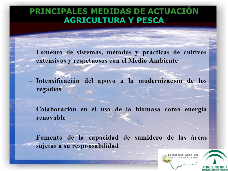 PRINCIPALES MEDIDAS DE ACTUACIÓN AGRICULTURA Y PESCA