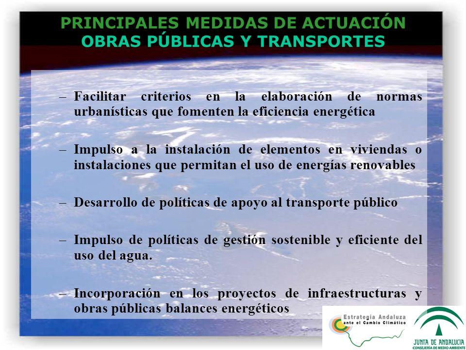 PRINCIPALES MEDIDAS DE ACTUACIÓN OBRAS PÚBLICAS Y TRANSPORTES