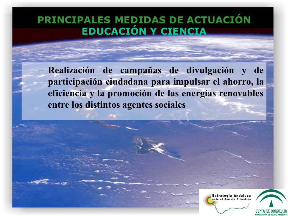 PRINCIPALES MEDIDAS DE ACTUACIÓN EDUCACIÓN Y CIENCIA