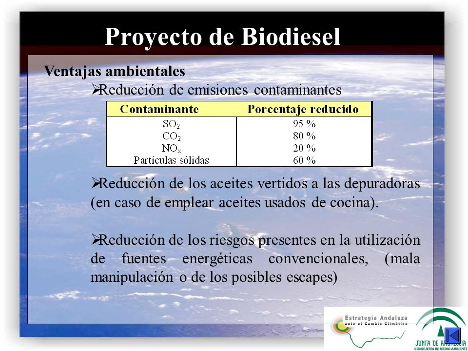 Proyecto de Biodiesel Ventajas ambientales