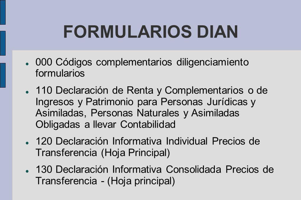 FORMULARIOS DIAN 000 Códigos complementarios diligenciamiento formularios.