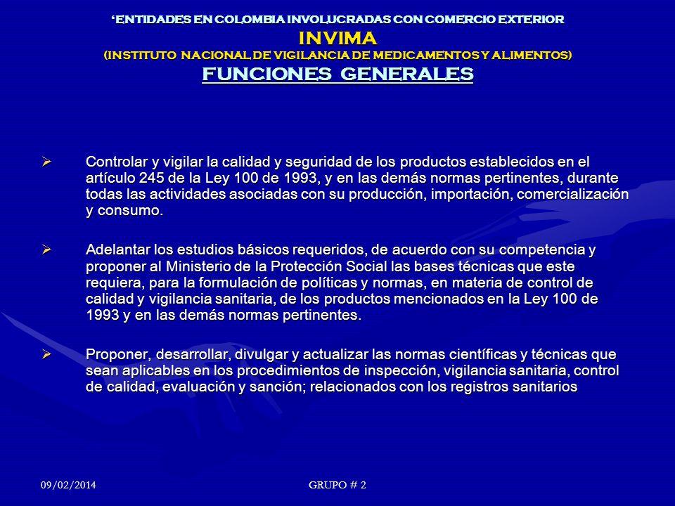'ENTIDADES EN COLOMBIA INVOLUCRADAS CON COMERCIO EXTERIOR INVIMA (INSTITUTO NACIONAL DE VIGILANCIA DE MEDICAMENTOS Y ALIMENTOS) FUNCIONES GENERALES