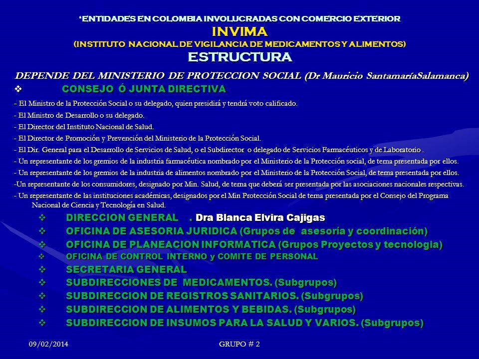 'ENTIDADES EN COLOMBIA INVOLUCRADAS CON COMERCIO EXTERIOR INVIMA (INSTITUTO NACIONAL DE VIGILANCIA DE MEDICAMENTOS Y ALIMENTOS) ESTRUCTURA