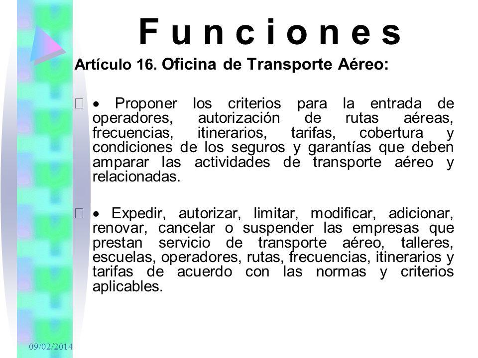 F u n c i o n e s Artículo 16. Oficina de Transporte Aéreo: