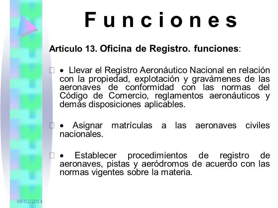 F u n c i o n e s Artículo 13. Oficina de Registro. funciones: