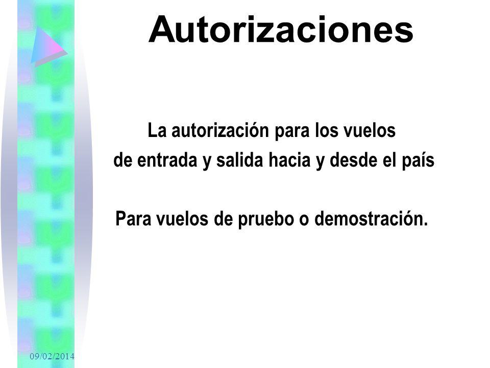 Autorizaciones La autorización para los vuelos