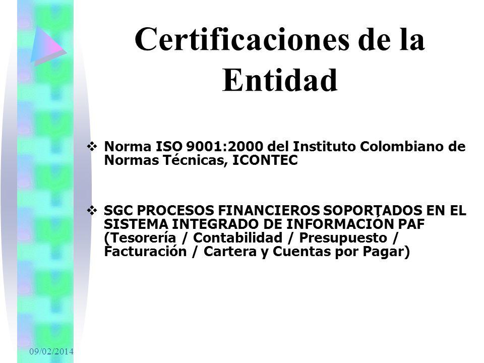 Certificaciones de la Entidad