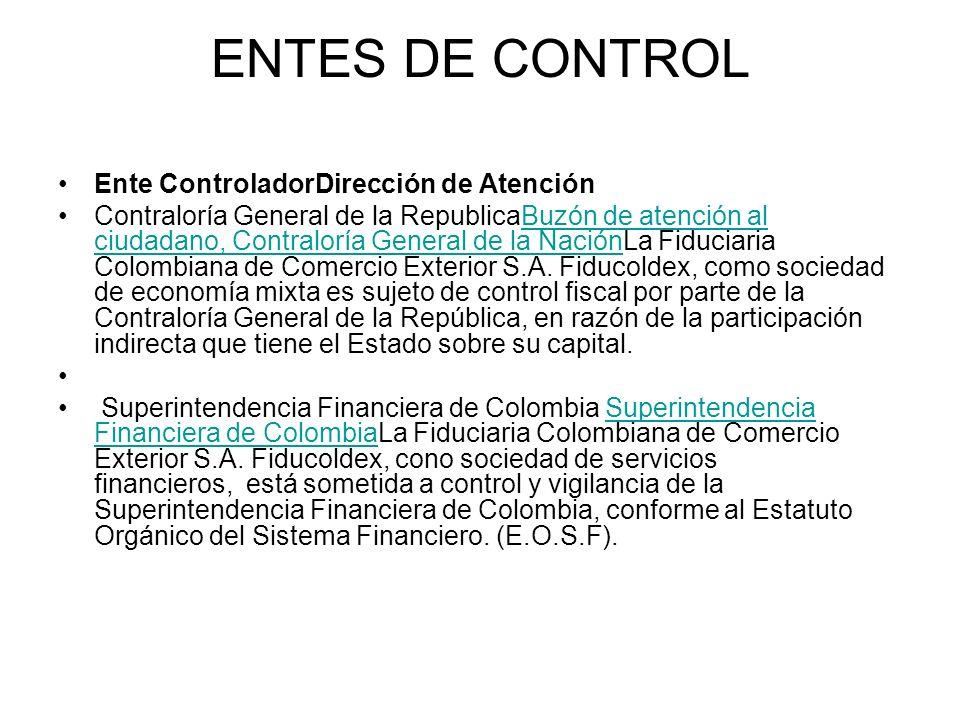 ENTES DE CONTROL Ente ControladorDirección de Atención