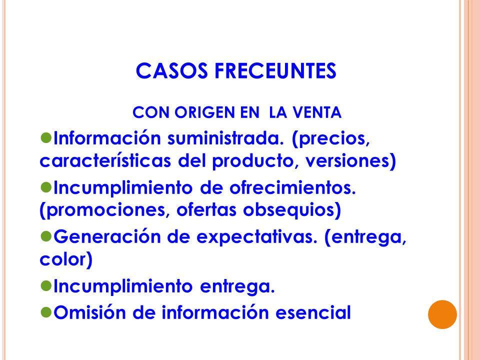 CASOS FRECEUNTESCON ORIGEN EN LA VENTA. Información suministrada. (precios, características del producto, versiones)