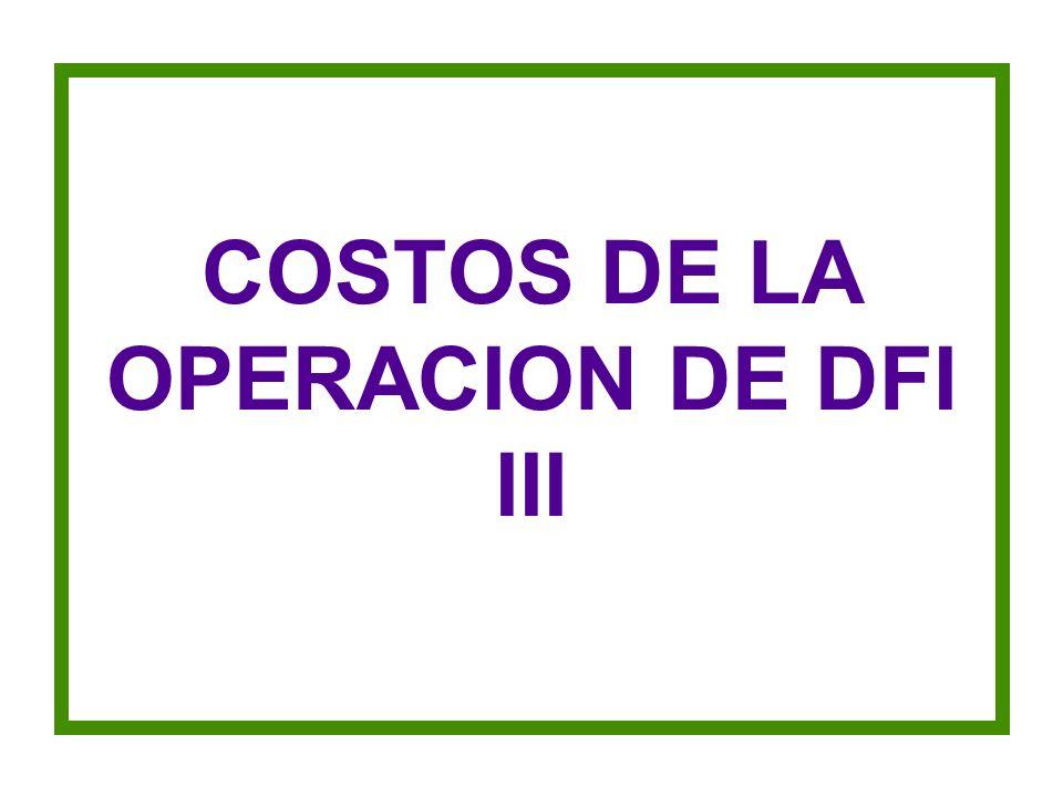 COSTOS DE LA OPERACION DE DFI III