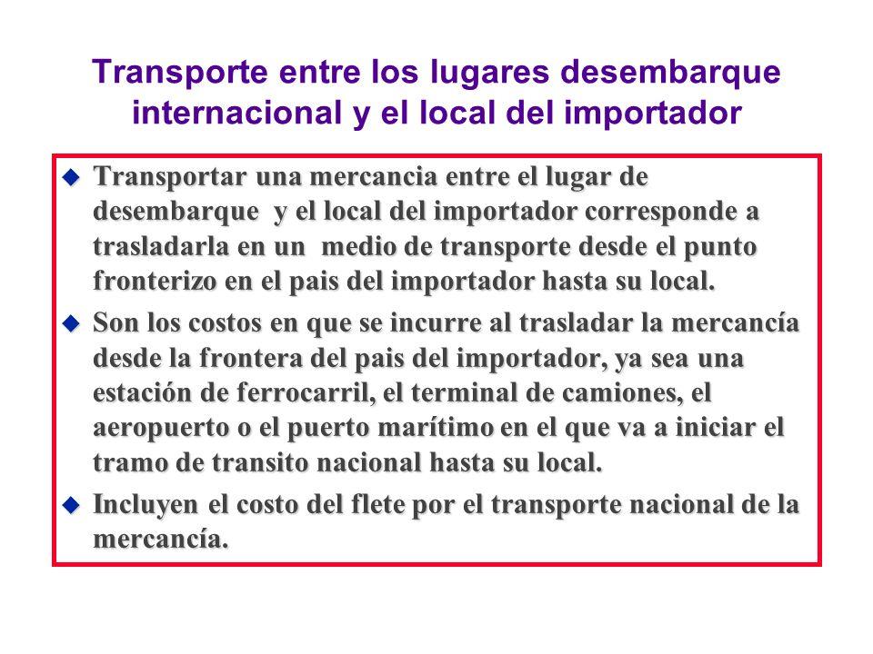 Transporte entre los lugares desembarque internacional y el local del importador