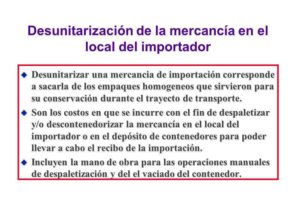 Desunitarización de la mercancía en el local del importador