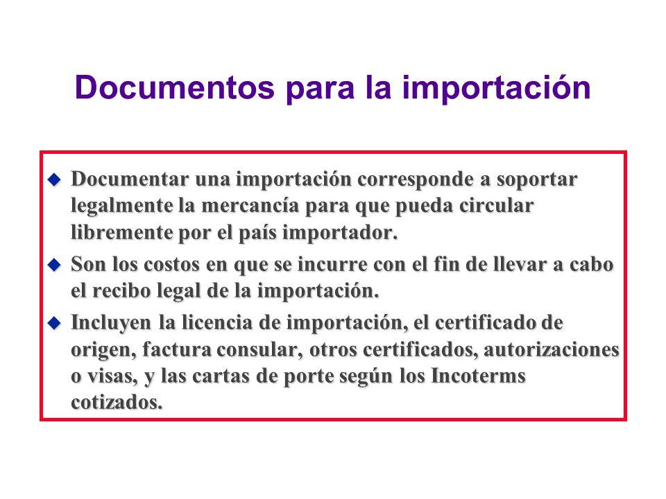 Documentos para la importación