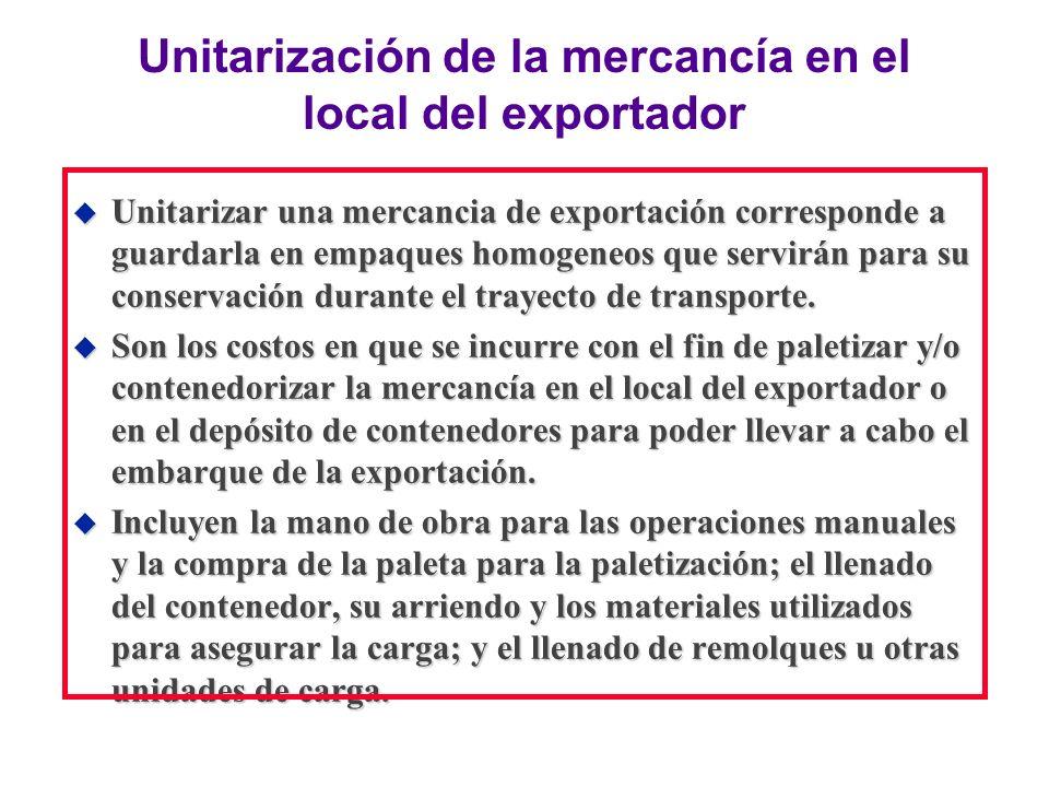 Unitarización de la mercancía en el local del exportador