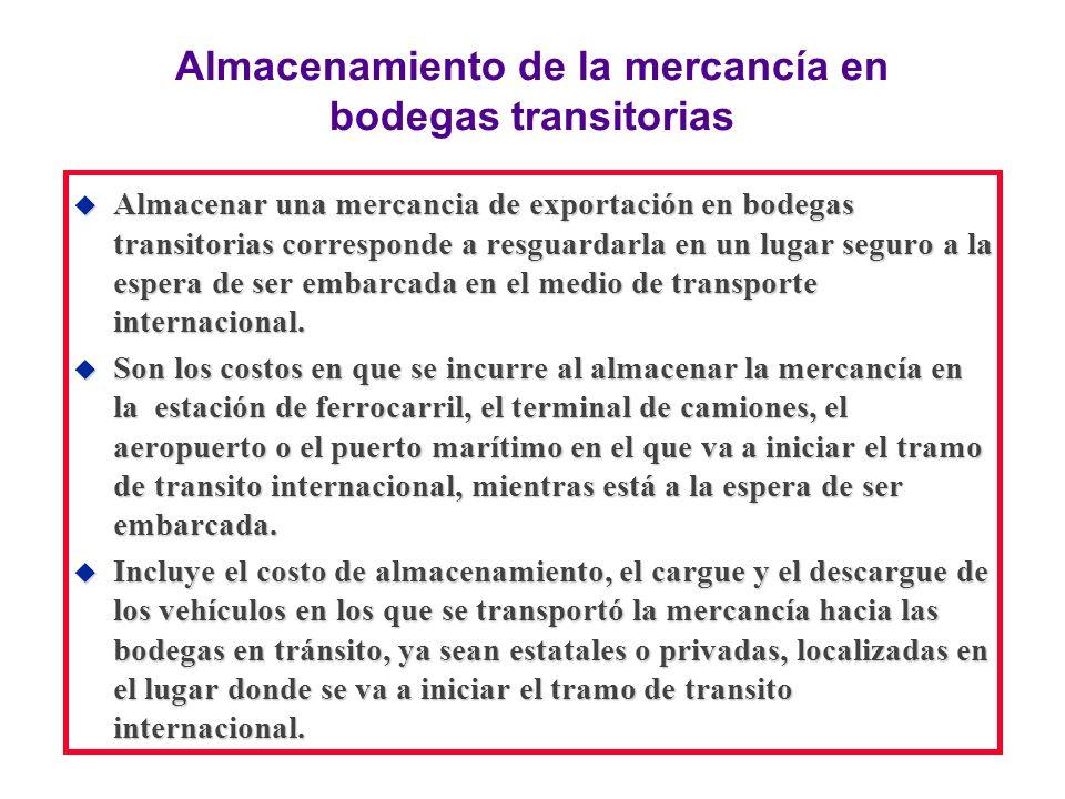 Almacenamiento de la mercancía en bodegas transitorias