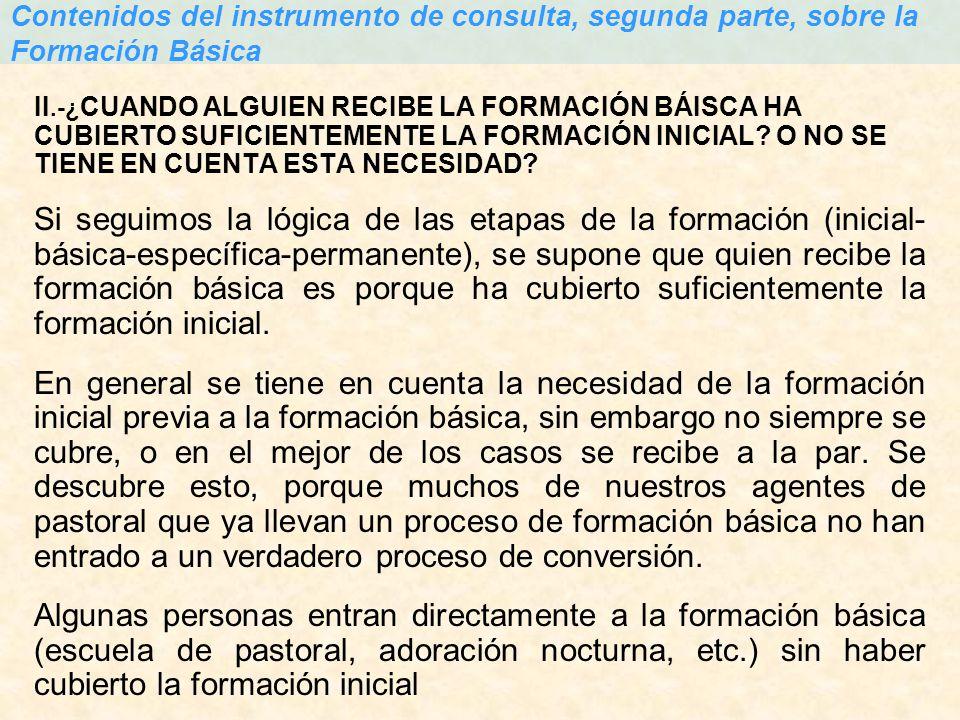 Contenidos del instrumento de consulta, segunda parte, sobre la Formación Básica