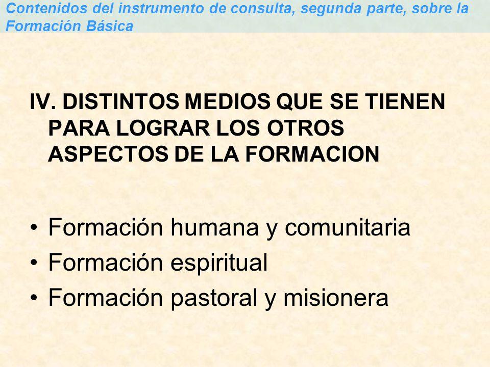 Formación humana y comunitaria Formación espiritual