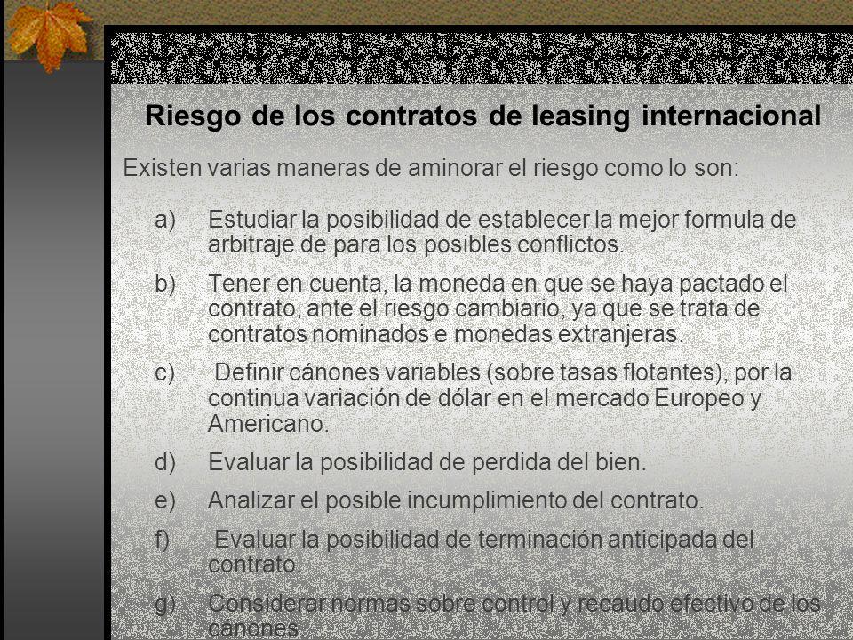 Riesgo de los contratos de leasing internacional