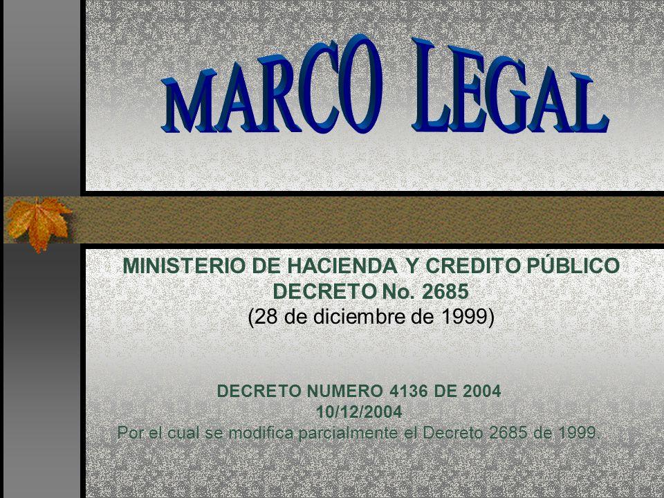 Por el cual se modifica parcialmente el Decreto 2685 de 1999.