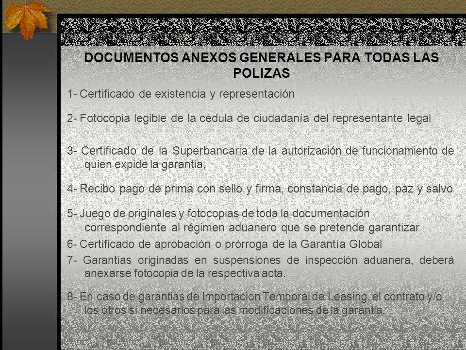 DOCUMENTOS ANEXOS GENERALES PARA TODAS LAS POLIZAS