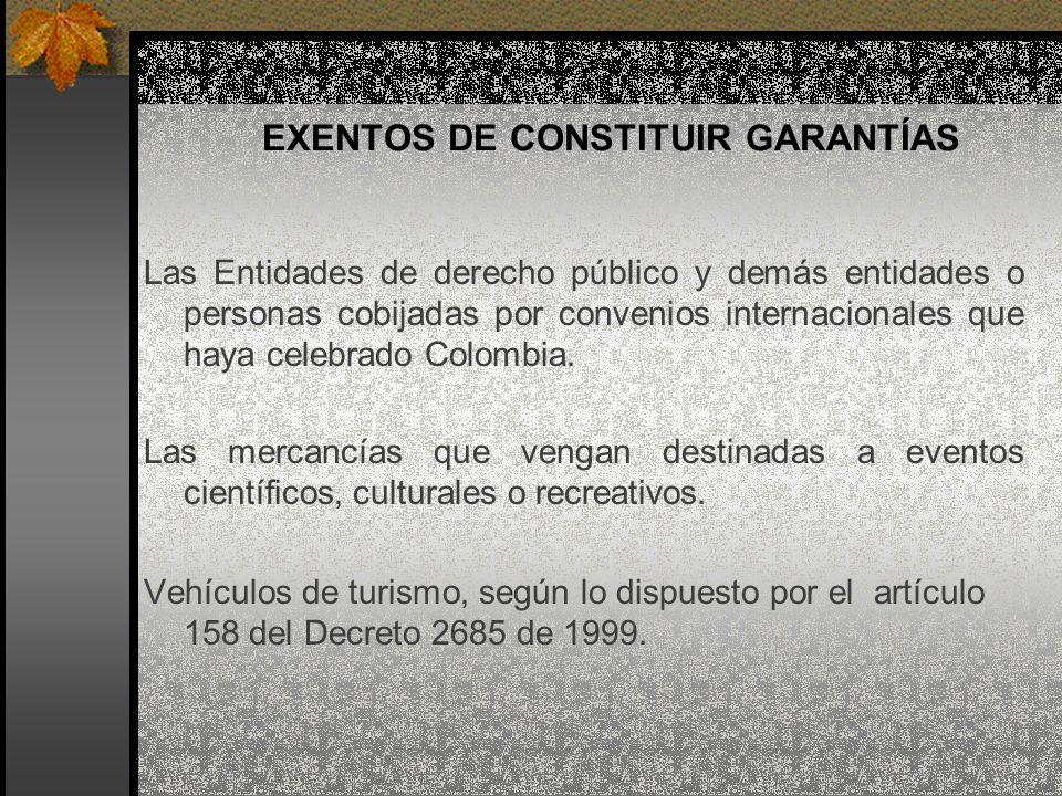 EXENTOS DE CONSTITUIR GARANTÍAS