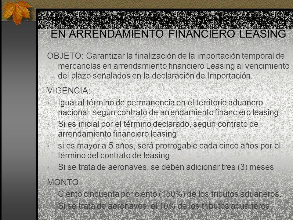 IMPORTACIÓN TEMPORAL DE MERCANCÍAS EN ARRENDAMIENTO FINANCIERO LEASING