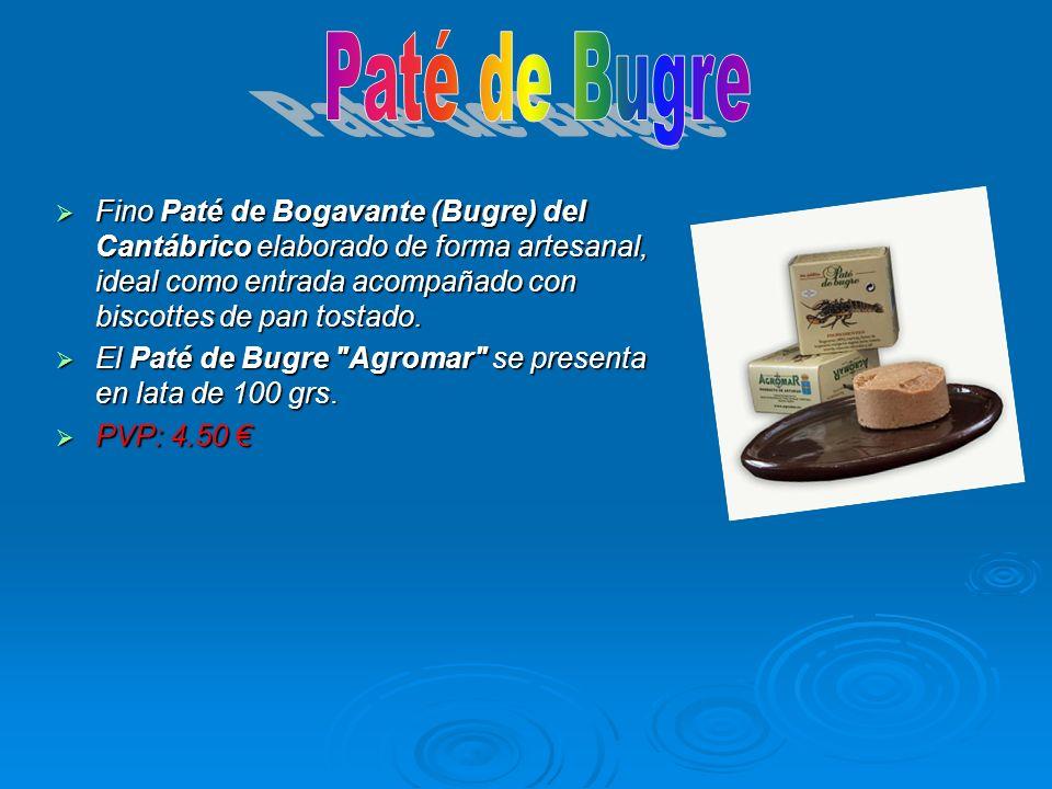 Paté de Bugre Fino Paté de Bogavante (Bugre) del Cantábrico elaborado de forma artesanal, ideal como entrada acompañado con biscottes de pan tostado.