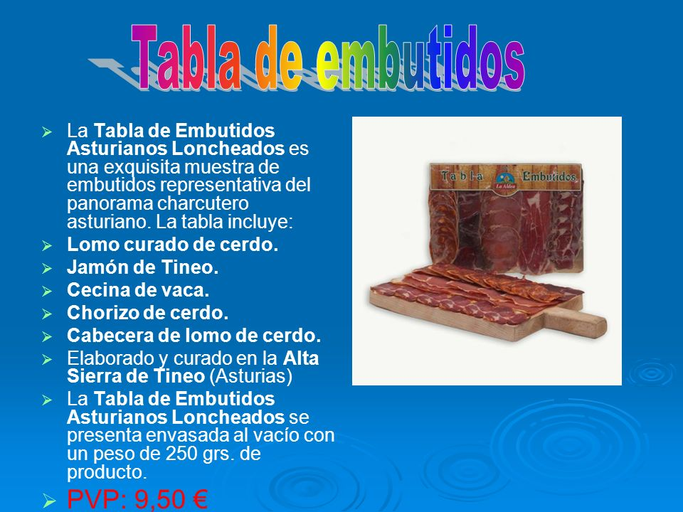 Tabla de embutidos PVP: 9,50 €