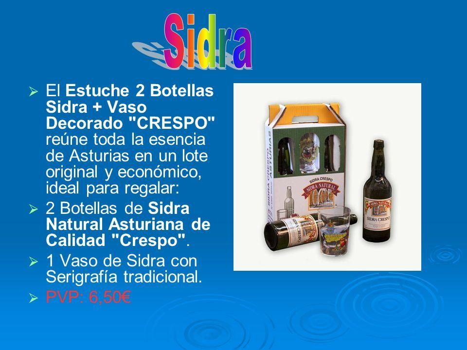 SidraEl Estuche 2 Botellas Sidra + Vaso Decorado CRESPO reúne toda la esencia de Asturias en un lote original y económico, ideal para regalar: