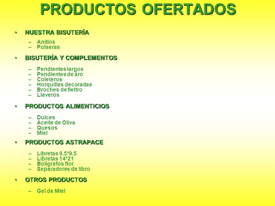 PRODUCTOS OFERTADOS NUESTRA BISUTERÍA BISUTERÍA Y COMPLEMENTOS
