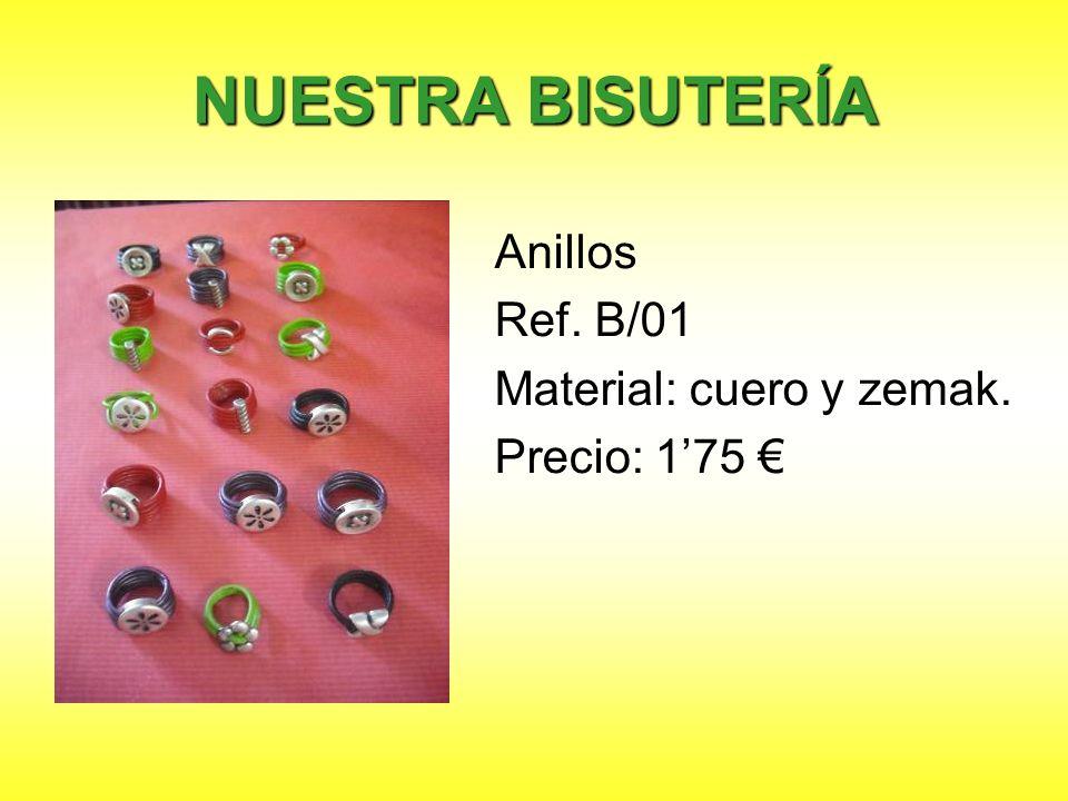 NUESTRA BISUTERÍA Anillos Ref. B/01 Material: cuero y zemak.